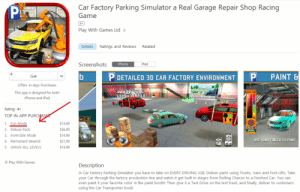 "This is already bad, but can we appreciate that this game's ""Fun mode"" is an in-app purchase?: Car Factory Parking Simulator a Real Garage Repair Shop Racing  Game  Play With Games Ltd >  DetailsRatings and Reviews  Related  Screenshots  iPhone  iPad  P DETAILED 3D CAR FACTORY ENVIRONMENT P  PAINT &  Get  Offers In-App Purchases  This app is designed for both  Phone and iPad  T CAR  Rating: 4+  TOP IN-APP PURCHA  S14.99  1. Fun Mode  RESET  2. Deluxe Pack  36.99  DONE  3. Invincible Mode  S14.99  USE YOUR FINGER TO PAINT  4. Permanent Rewind  S21.99  5. Unlock ALL LEVELS  S14.99  © Play With Games  Description  In Car Factory Parking Simulator you have to take on EVERY DRIVING JOB. Deliver parts using Trucks, Vans and Fork Lifts. Take  your Car through the factory production line and watch it get built in stages from Rolling Chassis to a Finished Car. You can  even paint it your favorite color in the paint booth! Then give it a Test Drive on the test track, and finally, deliver to customers  using the Car Transporter truck! This is already bad, but can we appreciate that this game's ""Fun mode"" is an in-app purchase?"