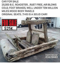 Memes, Free, and Cold: CAR FOR SALE  25,000 B.C. ROADSTER.. .RUST FREE, AIR BLOWS  COLD, FOOT BRAKES, WELL UNDER TEN MILLION  MILES.WOOD BODY PANELS  ORIGINAL SEATS..THIS IS A SOLID CAR!!  FOR SAE  25K  GADAYWITHCALIBOY  FOR SALE!!! 😂😂😂