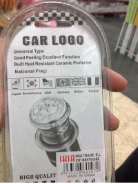 Pretty sure Germany doesn't use this flag anymore 🤔 https://t.co/alOpFCtTRS: CAR LOGO  Universal Type  Good Feeling Excellent Function  Built Heat Resistant Ceramic Protector  National Flag:  Japan South Korea USA Germany  Britain  France  IKIA TRADE S.L  CIF: B85753382  84 33 328 llo 0 l 079  MADE IN CHINA  HIGH QUALIT Pretty sure Germany doesn't use this flag anymore 🤔 https://t.co/alOpFCtTRS