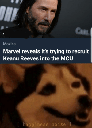Movies, Marvel, and Dank Memes: CAR  Movies  Marvel reveals it's trying to recruit  Keanu Reeves into the MCU  [happiness noise Mods removed first post for crediting the photographer, reeee