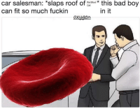 """Bad, Memes, and Oxygen: car salesman: """"slaps roof of athis bad boy  can fit so much fuckin  Red Blood k  in it  oxygen Credit: Randy Blanda"""