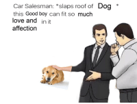 """Dogs, Love, and Good: Car Salesman: *slaps roof of Dog *  this Good boy can fit so much  love and in it  affection <p>For the love of dogs via /r/wholesomememes <a href=""""https://ift.tt/2MDVVhR"""">https://ift.tt/2MDVVhR</a></p>"""