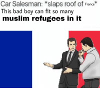 Bad, Muslim, and France: Car Salesman: *slaps roof of France  This bad boy can fit so many  muslim refugees in it