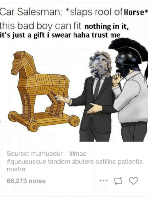 Bad, Horse, and Haha: Car  Salesman: *slaps roof of Horse*  bad boy can fit nothing in it,  this  it's just a gift i swear haha trust me  Source: murhuedur #1mao  #queueusque tandem abutere catilina patientia  nostra  66,273 notes - ̗̀ saith my he A rt ̖́-
