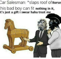 Bad, Horse, and Dank Memes: Car Salesman: *slaps roof of Horse  his bad boy can fit nothing in it,  t's just a gift i swear haha trust me I promise bro