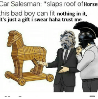 Bad, Horse, and Haha: Car Salesman: *slaps roof of Horse  his bad boy can fit nothing in it,  it's  just a gift i swear haha trust me