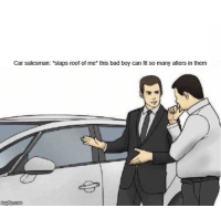 "car salesman: Car salesman: ""slaps roof of me* this bad boy can fit so many alters in them"