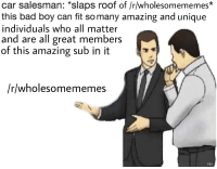 "Bad, Amazing, and All Matter: car salesman: ""slaps roof of /r/wholesomememes*  this bad boy can fit so many amazing and unique  individuals who all matter  and are all great members  of this amazing sub in it  /r/wholesomememes  ray <p>First post :) via /r/wholesomememes <a href=""https://ift.tt/2Nsw5yA"">https://ift.tt/2Nsw5yA</a></p>"