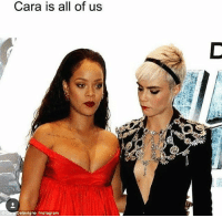 Cara Delevingne, Instagram, and Meme: Cara is all of us  elevigne /Instagram Cheeky peek: Taking to Instagram, Cara Delevingne shared a playful meme in which she glances at the R&B star's exposed cleavage – visible courtesy of her plunging red gown from Italian designer Giambattista Valli - during their appearance at the European premiere of Valerian and the City of a Thousand Planets in London on Monday evening