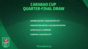 It's nice to see that all the underdogs gets to play at home in the quarter-finals of the carabao cup. https://t.co/SvlUMRMlKp: CARABAO CUP  QUARTER-FINAL DRAW  OXFORD UNITED V MANCHESTER CITY  MANCHESTER UNITED V COLCHESTER UNITED  ASTON VILLA V LIVERPOOL  EVERTON V LEICESTER CITY  Carabao  Cup  EFL  It's nice to see that all the underdogs gets to play at home in the quarter-finals of the carabao cup. https://t.co/SvlUMRMlKp