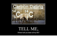 Dating, Life, and Been: Carbon Dating  1414  TELL ME,  Where half you been all my life?