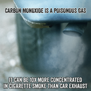 Smoking, Tumblr, and Blog: CARBON MONOXIDE IS A POISONOUS GAS  IT CAN BE 10X MORE CONCENTRATED  IN CIGARETTE SMOKE THAN CAR  EXHAUST knowtherealcost:  Carbon monoxide is found in cigarette smoke and can lead to permanent cardiovascular damage.#Smoking #Cigarettes #Cigarette #Smoke #Tobacco #Cigs #TheRealCost  It's no wonder people smoke.