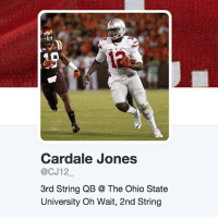 """Ohio State QB Cardale Jones decided to change his Twitter bio to """"2nd string"""" after being benched today... 😭🏈😭: Cardale Jones  @CJ12  3rd String QB The Ohio State  University Oh Wait, 2nd String Ohio State QB Cardale Jones decided to change his Twitter bio to """"2nd string"""" after being benched today... 😭🏈😭"""
