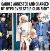 "According to reports, Cardi B will be charged for allegedly ordering an attack on two bartenders at a strip club is NYC called ""Angels"". The two victims claimed that Cardi B put the hit out on them because of allegations regarding Cardi's husband Offset. This morning, It looks like Cardi B has turned herself in to NYPD in connection to that strip club incident that occurred months ago. The rapper will most likely be charged for 2 misdemeanors which is disorderly conduct and reckless endangerment. RapTVSTAFF: Charlie! @thatkidcm: CARDI B ARRESTED AND CHARGED  BY NYPD OVER STRIP CLUB FIGHT According to reports, Cardi B will be charged for allegedly ordering an attack on two bartenders at a strip club is NYC called ""Angels"". The two victims claimed that Cardi B put the hit out on them because of allegations regarding Cardi's husband Offset. This morning, It looks like Cardi B has turned herself in to NYPD in connection to that strip club incident that occurred months ago. The rapper will most likely be charged for 2 misdemeanors which is disorderly conduct and reckless endangerment. RapTVSTAFF: Charlie! @thatkidcm"