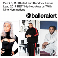 "Cardi B, DJ Khaled and Kendrick Lamar Lead 2017 BET ""Hip Hop Awards"" With Nine Nominations – blogged by @MsJennyb ⠀⠀⠀⠀⠀⠀⠀ ⠀⠀⠀⠀⠀⠀⠀ In less than a month, BET will be premiering the 2017 ""Hip Hop Awards,"" from The Fillmore Miami Beach at Jackie Gleason Theater in Miami, Florida. In wake of the catastrophic storms that pummeled through parts of Florida and Texas, the network will use its platform to offer support to those impacted by both HurricaneIrma and HurricaneHarvey through its ""Hip Hop for Hurricane Relief"" efforts. ⠀⠀⠀⠀⠀⠀⠀ ⠀⠀⠀⠀⠀⠀⠀ The annual celebration will pay homage to the hip hop culture with a slew of performances, special guests, tributes and highly-anticipated cyphers from your favorite big-name and underground rappers. ⠀⠀⠀⠀⠀⠀⠀ ⠀⠀⠀⠀⠀⠀⠀ This year, BET will reward some of the biggest artists, DJ's, producers, and video directors for their hard work throughout the year. ⠀⠀⠀⠀⠀⠀⠀ ⠀⠀⠀⠀⠀⠀⠀ Everyone's favorite regular-degular chick from the Bronx leads with an impressive nine nominations for her summer banger, ""Bodak Yellow."" CardiB joins the likes of multi-platinum artist and superstar producer, DJKhaled and Grammy Award winning rapper KendrickLamar, who both have nine nominations each. ⠀⠀⠀⠀⠀⠀⠀ ⠀⠀⠀⠀⠀⠀⠀ Following close behind with five nominations is none other than the GOAT himself, JayZ, who shares the second-most nomination score with Chicago native, ChancetheRapper. The two will be competing against one another in categories such as ""Lyricist of the Year,"" ""MVP of the Year, and "" Hustler of the Year."" ⠀⠀⠀⠀⠀⠀⠀ ⠀⠀⠀⠀⠀⠀⠀ Future and the Migos will be battling it out for ""Single of the Year,"" ""Album of the Year"" and the ""Made-You-Look"" Award, as they both pick up four nominations each. ⠀⠀⠀⠀⠀⠀⠀ ⠀⠀⠀⠀⠀⠀⠀ Other categories include, Best Featured Verse, Best Mixtape, Impact Track, Hot Ticket Performer and many more. ⠀⠀⠀⠀⠀⠀⠀ ⠀⠀⠀⠀⠀⠀⠀ The main event kicks off October 10th at 8PM ET-PT. Will you be tuning in?: Cardi B, DJ Khaled and Kendrick Lamar  Lead 2017 BET ""Hip Hop Awards"" With  Nine Nominations  @balleralert Cardi B, DJ Khaled and Kendrick Lamar Lead 2017 BET ""Hip Hop Awards"" With Nine Nominations – blogged by @MsJennyb ⠀⠀⠀⠀⠀⠀⠀ ⠀⠀⠀⠀⠀⠀⠀ In less than a month, BET will be premiering the 2017 ""Hip Hop Awards,"" from The Fillmore Miami Beach at Jackie Gleason Theater in Miami, Florida. In wake of the catastrophic storms that pummeled through parts of Florida and Texas, the network will use its platform to offer support to those impacted by both HurricaneIrma and HurricaneHarvey through its ""Hip Hop for Hurricane Relief"" efforts. ⠀⠀⠀⠀⠀⠀⠀ ⠀⠀⠀⠀⠀⠀⠀ The annual celebration will pay homage to the hip hop culture with a slew of performances, special guests, tributes and highly-anticipated cyphers from your favorite big-name and underground rappers. ⠀⠀⠀⠀⠀⠀⠀ ⠀⠀⠀⠀⠀⠀⠀ This year, BET will reward some of the biggest artists, DJ's, producers, and video directors for their hard work throughout the year. ⠀⠀⠀⠀⠀⠀⠀ ⠀⠀⠀⠀⠀⠀⠀ Everyone's favorite regular-degular chick from the Bronx leads with an impressive nine nominations for her summer banger, ""Bodak Yellow."" CardiB joins the likes of multi-platinum artist and superstar producer, DJKhaled and Grammy Award winning rapper KendrickLamar, who both have nine nominations each. ⠀⠀⠀⠀⠀⠀⠀ ⠀⠀⠀⠀⠀⠀⠀ Following close behind with five nominations is none other than the GOAT himself, JayZ, who shares the second-most nomination score with Chicago native, ChancetheRapper. The two will be competing against one another in categories such as ""Lyricist of the Year,"" ""MVP of the Year, and "" Hustler of the Year."" ⠀⠀⠀⠀⠀⠀⠀ ⠀⠀⠀⠀⠀⠀⠀ Future and the Migos will be battling it out for ""Single of the Year,"" ""Album of the Year"" and the ""Made-You-Look"" Award, as they both pick up four nominations each. ⠀⠀⠀⠀⠀⠀⠀ ⠀⠀⠀⠀⠀⠀⠀ Other categories include, Best Featured Verse, Best Mixtape, Impact Track, Hot Ticket Performer and many more. ⠀⠀⠀⠀⠀⠀⠀ ⠀⠀⠀⠀⠀⠀⠀ The main event kicks off October 10th at 8PM ET-PT. Will you be tuning in?"