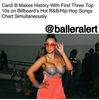 "Cardi B Makes History With First Three Top 10s on Billboard's Hot R&B-Hip-Hop Songs Chart Simultaneously - blogged by @MsJennyb ⠀⠀⠀⠀⠀⠀⠀ ⠀⠀⠀⠀⠀⠀⠀ 2017 is CardiB's year, from a number one record, to a surprise engagement to several historical feats. Just months after the Bronx rapper made hip-hop history with her smash hit, ""Bodak Yellow,"" Billboard reports that she has done it again with two more hits. ⠀⠀⠀⠀⠀⠀⠀ ⠀⠀⠀⠀⠀⠀⠀ Cardi B has become the first woman to chart her first three entries on Billboard's Hot R&B-Hip-Hop Songs chart in the top 10 simultaneously. With 'Bodak Yellow' still doing numbers, coasting at No. 2, Migos' 'Motorsport' featuring Cardi B and NickiMinaj debuted at No. 5. Finally, G-Eazy's 'No Limit' featuring Cardi B and A$AP Rocky moved from 12 to 9 on the chart, completing the rapper's hip-hop history trifecta. ⠀⠀⠀⠀⠀⠀⠀ ⠀⠀⠀⠀⠀⠀⠀ The feat also makes Cardi the first artist to do so since Fetty Wap in 2015. According to Billboard, the accomplishment lands Cardi among only five other female artists, who were able to post three simultaneous top 10s at any point in her career, which includes, Ashanti, Nicki Minaj, Iggy Azalea, Beyoncé and Rihanna.: Cardi B Makes History With First Three Top  10s on Billboard's Hot R&B/Hip-Hop Songs  Chart Simultaneously  @balleralert Cardi B Makes History With First Three Top 10s on Billboard's Hot R&B-Hip-Hop Songs Chart Simultaneously - blogged by @MsJennyb ⠀⠀⠀⠀⠀⠀⠀ ⠀⠀⠀⠀⠀⠀⠀ 2017 is CardiB's year, from a number one record, to a surprise engagement to several historical feats. Just months after the Bronx rapper made hip-hop history with her smash hit, ""Bodak Yellow,"" Billboard reports that she has done it again with two more hits. ⠀⠀⠀⠀⠀⠀⠀ ⠀⠀⠀⠀⠀⠀⠀ Cardi B has become the first woman to chart her first three entries on Billboard's Hot R&B-Hip-Hop Songs chart in the top 10 simultaneously. With 'Bodak Yellow' still doing numbers, coasting at No. 2, Migos' 'Motorsport' featuring Cardi B and NickiMinaj debuted at No. 5. Finally, G-Eazy's 'No Limit' featuring Cardi B and A$AP Rocky moved from 12 to 9 on the chart, completing the rapper's hip-hop history trifecta. ⠀⠀⠀⠀⠀⠀⠀ ⠀⠀⠀⠀⠀⠀⠀ The feat also makes Cardi the first artist to do so since Fetty Wap in 2015. According to Billboard, the accomplishment lands Cardi among only five other female artists, who were able to post three simultaneous top 10s at any point in her career, which includes, Ashanti, Nicki Minaj, Iggy Azalea, Beyoncé and Rihanna."