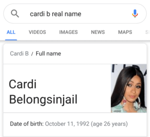 full name: cardi b real name  ALL  VIDEOS  AGES NEWS MAPSS  Cardi B/Full name  Cardi  Belongsinjail  MABE  Date of birth: October 11,1992 (age 26 years)