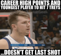 Nba, Player, and Mavericks: CAREER HIGH POINTS AND  YOUNGEST PLAYER TO HIT 7TREYS  @NBAMEMES  MAVERICKS  112 PELICANS  114  FINAL  DOESN'T GET LAST SHOT IM UPSET