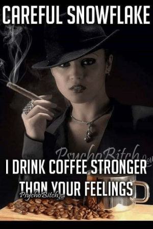 Coffee, Terrible Facebook, and Snowflake: CAREFUL SNOWFLAKE  PehaBitch  IDRINK COFFEE,STRONGER  THAN VOUR FEELINGS  2erycho'sitchs Careful, Snowflake...