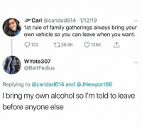 Dank, Family, and Alcohol: Cari @caridad614 1/12/19  1st rule of family gatherings always bring your  own vehicle so you can leave when you want.  132 38.9K 125K  WYote307  @BeltFedius  Replying to @caridad614 and @JNewport66  I bring my own alcohol so I'm told to leave  before anyone else