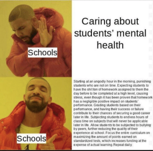 Why is school this way: Caring about  students' mental  health  Schools  Starting at an ungodly hour in the morning, punishing  students who are not on time. Expecting students to  have the shit ton of homework assigned to them the  day before to be completed at a high level, causing  stress, even though it has been proven that homework  has a negligible positive impact on students'  perfomance. Grading students based on their  perfomance, and having their success or failure  contribute to their chances of securing a good career  later in life. Subje cting students to endless hours of  class time on subjects that will never be applicable  later in life. Allow students to be subjected to bullying  by peers, further reducing the quality of their  experience at school. Focus the entire curriculum on  maximizing the amount of points earned on  standardized tests, which increases funding at the  expense of actual learning.Repeat daily.  Schools Why is school this way