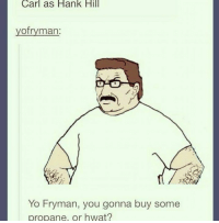 Memes, Hank Hill, and Generalization: Carl as Hank Hill  ofryman  Yo Fryman, you gonna buy some  propane, or hwat? General Stinky Balls