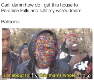 Adventure is out there!: Carl: damn how do I get this house to  Paradise Falls and fulfil my wife's dream  Balloons:  CK  Imabout to fly this man's whole house  made with doug Adventure is out there!