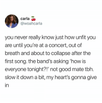 "Memes, Tbh, and Good: carla >  @woahcarla  you never really know just how unfit you  are until you're at a concert, out of  breath and about to collapse after the  first song. the band's asking 'how is  everyone tonight?!"" not good mate tbh  slow it down a bit, my heart's gonna give  in Ball"