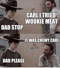 Dad, Instagram, and Com: CARLI TRIED  WOOKIE MEAT  DAD STOP  IT WAS CHEWY CARL  BLOCK  DAD PLEASE  ingflip.com Instagram: @punsonly