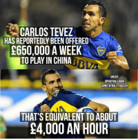 OMG.. Thoughts❓ China Money Tevez: CARLOS TEVEZ  HAS REPORTEDLY BEEN OFFERED  C650,000 A WEEK  TO PLAY IN CHINA  CREDIT  @FOOTBALLBOOK  @INSTATROLL SOCCER  THAT'S EQUIVALENT TO ABOUT  !4,000 AN HOUR OMG.. Thoughts❓ China Money Tevez