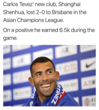 Memes, Carlos Tevez, and 🤖: Carlos Tevez new club, Shanghai  Shenhua, lost 2-0 to Brisbane in the  Asian Champions League.  On a positive he earned 6.5k during the  game. 👀💸
