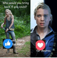 Memes, News, and The Walking Dead: CARLOST.NET  r CARLO ST NET  Who would you bring  back if you could?  and hare  for Beth  for Andrea Who would it be? #TheWalkingDead fans, either way please give this post a VOTE today! :) (y)  http://www.egvoproductions.com/news-blog/the-walking-dead-season-7-premiere-the-day-will-come-when-you-wont-be-on-amc-10-23-2016