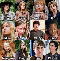 Who's your favorite Walking Dead kid? TheWalkingDead: Carly Lizzie  Judith  Ron  Mika  Sophia  Mikey  Duane  Sam  Patrick  Meghan  Enid Who's your favorite Walking Dead kid? TheWalkingDead