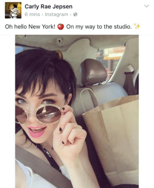 Carly Rae Jepsen, Hello, and Instagram: Carly Rae Jepsen  6 mins Instagram.  Oh hello New York!  On my way to the studio.+ QUEEN OF SEATBELT SAFETY