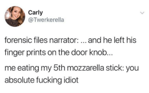 Carly Forensic Files Narrator And He Left His Finger Prints On The Door Knob Me Eating My 5th Mozzarella Stick You Absolute Fucking Idict Forensic Files Meme On Me Me