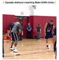 Blake Griffin, Memes, and Teaching: Carmelo Anthony's teaching Blake Griffin tricks  EXIT  l4 Do you guys remember two years ago and like 2 weeks ago when I told you about this? Here's the footage. @eherron22 @ballpedia