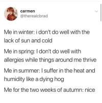 Winter, Summer, and Heat: carmen  otherealcbrad  Me in winter: i don't do well with the  lack of sun and cold  Me in spring: I don't do well with  allergies while things around me thrive  Me in summer: I suffer in the heat and  humidity like a dying hog  Me for the two weeks of autumn: nice