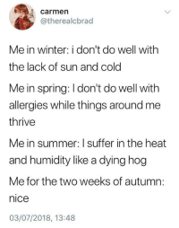Winter, Summer, and Heat: carmen  @therealcbrad  Me in winter: i don't do well with  the lack of sun and cold  Me in spring: I don't do well with  allergies while things around me  thrive  Me in summer: I suffer in the heat  and humidity like a dying hog  Me for the two weeks of autumn:  nice  03/07/2018, 13:48 meirl