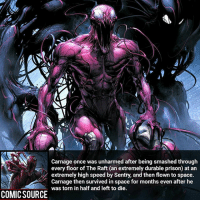 A beast like him doesn't die easy ________________________________________________________ Deadpool2 Hulk CaptainAmerica WonderMan Deadpool IronFist Thor DrStrange SpiderMan Wolverine Logan Cable DrDoom DarthVader Sentry Superman IronMan Like DeathStroke Rebirth DCRebirth Like4Like Facts Comics BvS StarWars Marvel CW Disney DCComics: Carnage once was unharmed after being smashed through  every floor of The Raft (an extremely durable prison) at an  extremely high speed by Sentry, and then flown to space.  Carnage then survived in space for months even after he  was torn in half and left to die  COMIC SOURCE was torn in half and left to onthseven after he A beast like him doesn't die easy ________________________________________________________ Deadpool2 Hulk CaptainAmerica WonderMan Deadpool IronFist Thor DrStrange SpiderMan Wolverine Logan Cable DrDoom DarthVader Sentry Superman IronMan Like DeathStroke Rebirth DCRebirth Like4Like Facts Comics BvS StarWars Marvel CW Disney DCComics