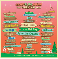 CAMP FLOG GNAW 2017. TICKETS ON SALE THURSDAY. NOON. 12PST: CARNIVAL  Ost 28-29  2017  +Special Guest  Roy Ayers  Brockhampton  Syd  2 Chainz  Rex Orange County  Jorja Smith  Steve Lacy  Alison Wonderland  Kamaiyah  Lil Yachty  Mac Miller  Vince Staples  AŞAP Rocky  Kid Cudi  Solange Lana Del Rey Kehlani  yler,the Creator  Migos  6lack  orJustice  The Internet  Earl Sweatshirt  Willow Smith& Jaden Smith  Taco  Kelela  Mild High Club  Mike G  Kelis  Fidlar  Domo Genesis  Terror Jr  Sam Gellaitry  Trash Talk  Denzel Curry  Wednesday Campanella  Hodgy  The Garden  Left Brain  EXPOSITION PARK LOS ANGELES  CAMPFLOGONAW.COM CAMP FLOG GNAW 2017. TICKETS ON SALE THURSDAY. NOON. 12PST
