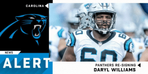 Memes, News, and Panthers: CAROLINA  NEWS  ALERT  PANTHERS RE-SIGNING  DARYL WILLIAMS Pathers re-signing OT Daryl Williams to one-year, $7M deal. (via @RapSheet) https://t.co/sDbfEpJ589