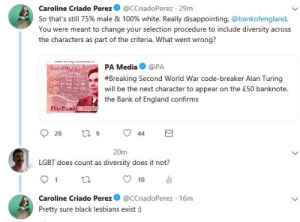 England, Lesbians, and Lgbt: Caroline Criado Perez  @CCriadoPerez 29m  So that's still 75% male & 100 % white. Really disappointing, @bankofengland.  You were meant to change your selection procedure to include diversity  across  the characters as part of the criteria. What went wrong?  PA Media  @PA  #Breaking Second World War code-breaker Alan Turing  will be the next character to appear on the £50 banknote,  the Bank of England confirms  anade  t 9  44  20  20m  LGBT does count as  diversity does it not?  l  1  10  @CCriadoPerez 16m  Caroline Criado Perez  Pretty sure black lesbians exist :) When diversity isn't diverse enough