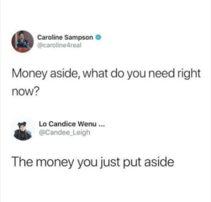 Don't move the money: Caroline Sampson  @caroline4real  Money aside, what do you need right  now?  Lo Candice Wenu  @Candee Leigh  The money you just put aside Don't move the money