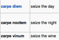 Target, Tumblr, and Wikipedia: carpe diem  seize the day  carpe noctem  seize the night  carpe vinum  seize the wine gabrielesque:  this is my favourite sequence of wikipedia latin phrases