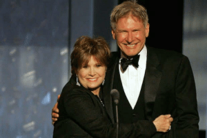 Carrie Fisher and Harrison Ford onstage at the Kodak Theatre, on June 9th 2005.: Carrie Fisher and Harrison Ford onstage at the Kodak Theatre, on June 9th 2005.