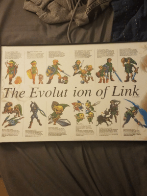 Game timeline I picked up at Comic con this year. Forgot to post when I got it: CARROLL C  Majora's Mask (2000)  Majora's Mask miay Save uturat paneplay  7echanics baped on Sme, but Lnkamained  yourg deaughcut This dappontet srce wha  epyet he nos ture Link fram Ccanina of  Time but the 24 nasia in be mine guaran  wed ha'd ts mre abiles t er b  The Legend of Zelda (1987)  Lincs debut Introduced many of his trade-  marks-a gresn tunic his plent manner, and  iconic Rema ke the boomerang, bombs, and  bow. When pamers saw hie in-game, many  wOwdered what the odd greeh phels above his  eyen were. We still dont know for sure.  Link's Awakening (1993) Oracle of  Ages / Oracle of Seasons (2001)  LInch three installments on the Garme Boy  didn't take the look of the character In any  Unexpected directions. With the systen's  Imited screen resolution, Ninterdo developers  didn't have much room to work with when it  came to the character's in-game model  Ocarina of Tine (1998)  Iin previcus tihes, Lick's age was tever clearly  detined With his 30 dabut, we got to se bwo  distirct versions of the here-Ybung Link and  Adut Link The latter is the model rat became  most recognizable, senving as the banin for  his appearances in Soul Calbur and Super  Smash Bros  Zelda II: The Adventure of Link  (1988)  Zeida R The Adventure of Link shited cur vinw  of the hero thanks to its sidescroling nature  We saw him tom the top-down an the over-  world map but mast of our time with him was  running from left to right in XP gnding runs  A Link 10 the Past (1992)  With Link to the Past, the Christian cross  imagery was replaced with the lconic Triforce  and other designs. While the character's art  has atmest always portrayed him with bland  brown hair, his n-game sprite appesred to  tave pink halt  The Evolut ion of Link  Daa Ryckert  Feur Swords Adventre (2004)  Minish Cap (20X05) • Phantem  Hourglass (2007) Spirit Tracks  (2009  Aner Wind Waker, Link's portable adventrea  stuck with the Too