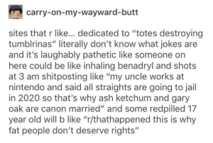 """Its okay, you can say r/TumblrInAction: carry-on-my-wayward-butt  sites that r like... dedicated to """"totes destroying  tumblrinas"""" literally don't know what jokes are  and it's laughably pathetic like someone on  here could be like inhaling benadryl and shots  at 3 am shitposting like """"my uncle works at  nintendo and said all straights are going to jail  in 2020 so that's why ash ketchum and gary  oak are canon married"""" and some redpilled 17  year old will b like """"r/thathappened this is why  fat people don't deserve rights"""" Its okay, you can say r/TumblrInAction"""