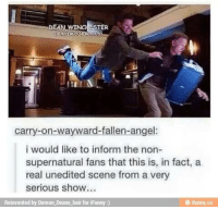 Memes, Angel, and Angels: carry-on-wayward-fallen-angel:  i would like to inform the non-  supernatural fans that this is, in fact, a  real unedited scene from a very  serious show  Reinvented by Demon Deans-hair for iFunny