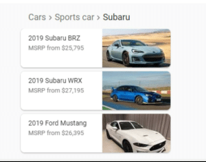Cars, Sports, and Ford: Cars Sports car > Subaru  2019 Subaru BRZ  MSRP from $25,795  2019 Subaru WRX  MSRP from $27,195  2019 Ford Mustang  MSRP from $26,395 That totally makes sense!