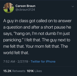 "Dumb, Iphone, and Twitter: Carson Braun  @cbraun3124  A guy in class got called on to answer  a question and after a short pause he  says, ""hang on, I'm not dumb I'm just  panicking."" I felt that. The guy next to  me felt that. Your mom felt that. The  world felt that.  7:52 AM- 2/27/19 Twitter for iPhone  15.2K Retweets 101K Likes Meirl"
